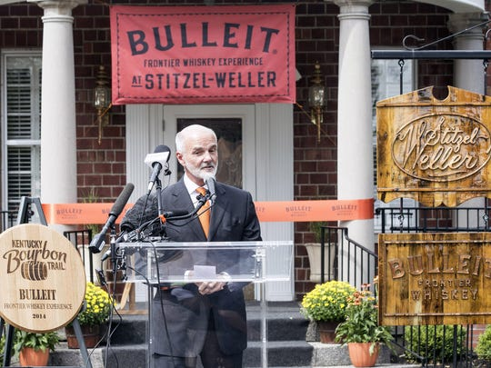 Tom Bulleit speaks to the crowd during the official opening of the new Bulleit Bourbon Distillery on Monday afternoon. 9/15/14