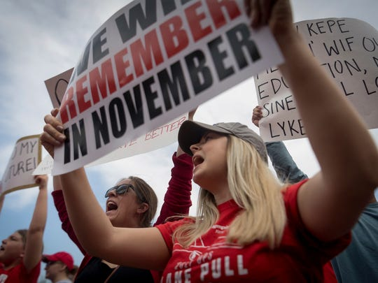 """Teachers from across Kentucky gathered inside the state Capitol to rally for increased funding and to protest changes to their state funded pension system on April 13. The issue of """"teacher shortage"""" has been around for decades."""