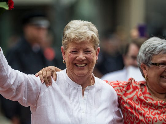 Senator Karen Peterson and her spouse Vikki Bandy were the first same-sex couple to get legally married in Delaware in 2013.
