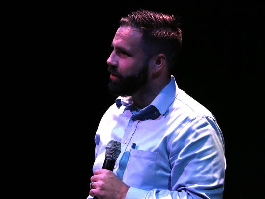 Caleb Cage appears at a past Reno Storytellers Project event.