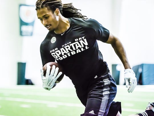 MSU cornerback Trae Waynes participate in a drill during