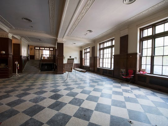 The original Terrazzo floor is exposed from under carpet in the lobby at the Yorktowne Hotel in 2018. Finding the flooring and it's condition was a minor miracle, Taymans said.