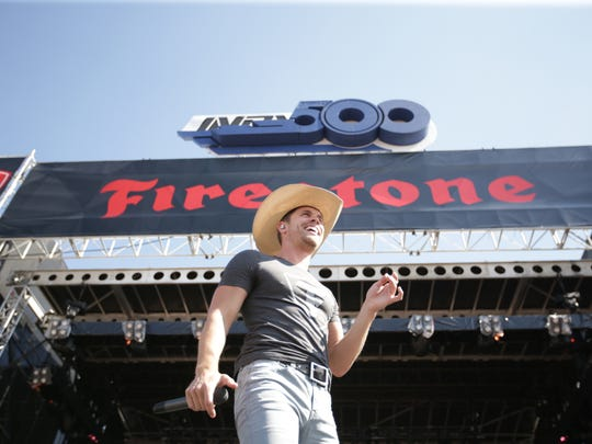 Dustin Lynch performs as a supporting act for Keith Urban at the 2017 edition of the Legends Day show at Indianapolis Motor Speedway.