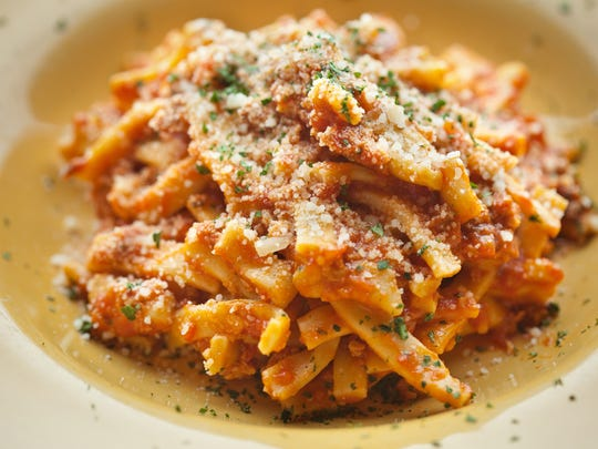 Spaccatelli with a sausage and tomato ragu at Marcellino