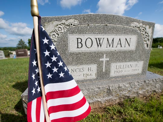 This is a decorated veteran's grave site at Holy Savior