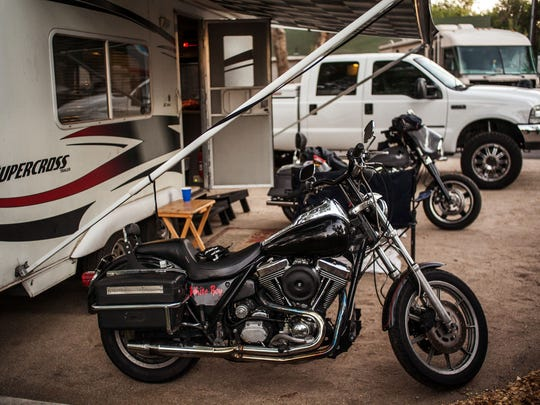 Motorcycles during Street Vibrations at River West Resort RV and trailer park on West Second Street near downtown Reno.