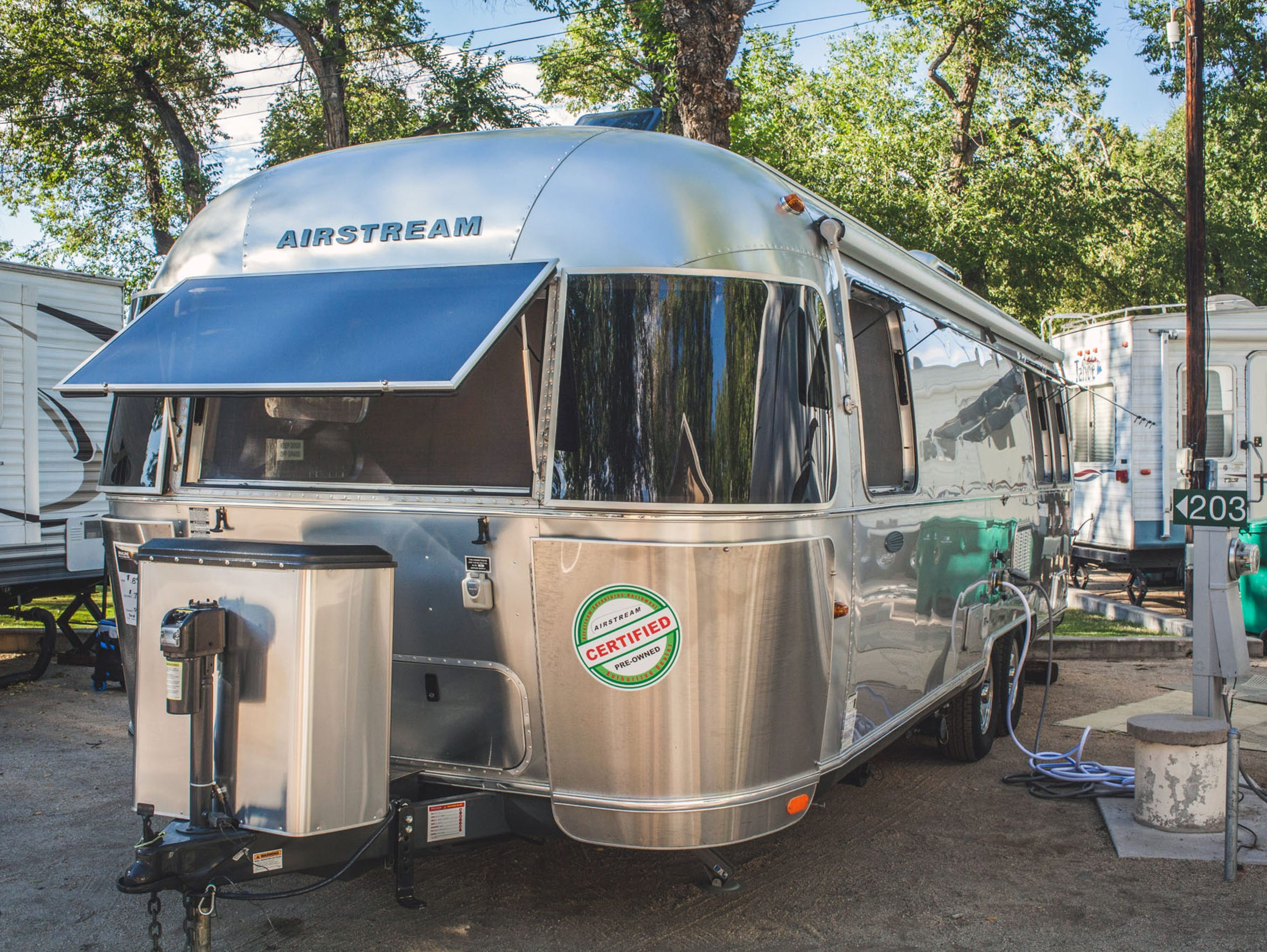 An Airstream trailer at River West Resort RV and trailer