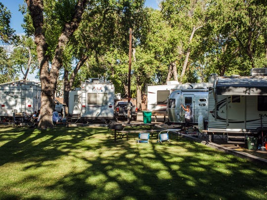 The community park area at River West Resort RV and trailer park on West Second Street near downtown Reno.