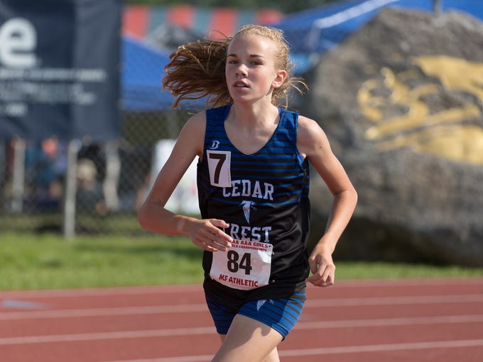Cedar Crest's Gwyneth Young competes in the Girls AAA