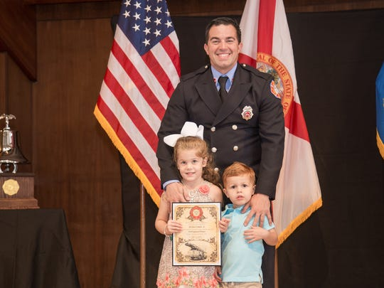 Michael Camelo Jr. and his  children, Anna, 5, and Michael Camelo III, 3.