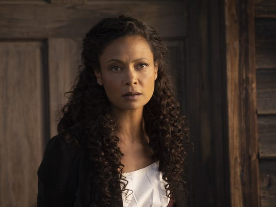 "Maeve (Thandie Newton) on ""Westworld."""