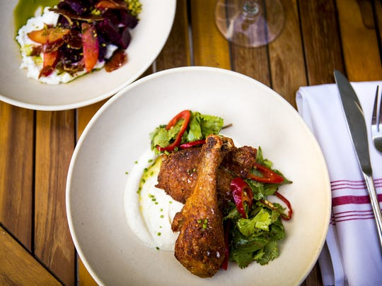 Chicken and roasted beet dishes at Pleasantry.