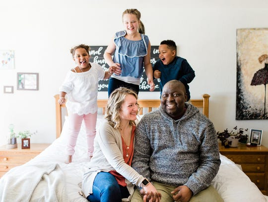 Christine (left, foreground) asked husband Christian to record videos with messages of love and advice for their three children, Zaina (back left), Leia (back middle) and Jude (back right). Christian was diagnosed with Stage 4 esophageal cancer in November 2016. He died April 30.