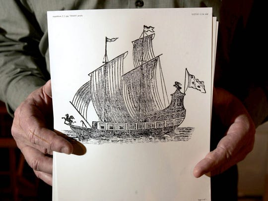 In December 2005, Steve Libert, president of Great Lakes Exploration Group LLC, at his home in Oak Hill, Virginia, with a drawing of the sailing ship Griffon.