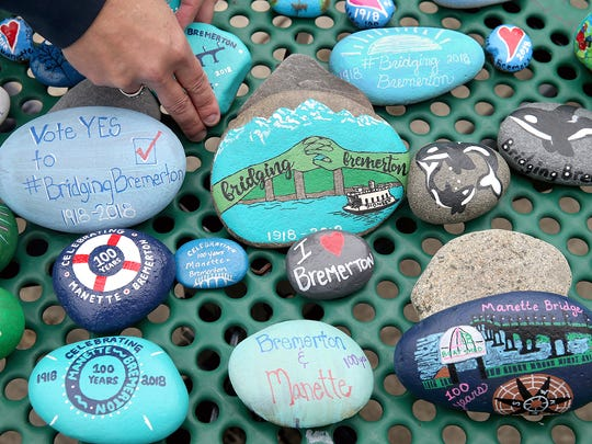 Painted commemorative rocks will be placed along the route of the Bridging Bremerton event on Saturday.