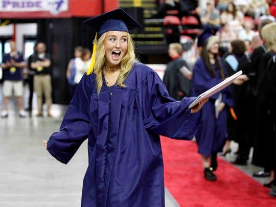 Binghamton High School graduation at Floyd L. Maines Memorial Arena, Binghamton. Sunday, June 24, 2018. Thomas La Barbera / Correspondent
