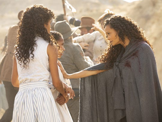 "Maeve (Thandie Newton, right) on ""Westworld."""