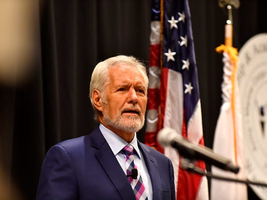 Television icon Alex Trebek speaks to cadets participating