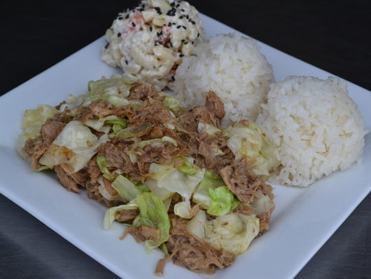 Hawaiian plate lunches (here, kalua pork with rice