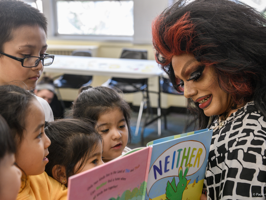 Yonkers resident Angel Velasquez reads to children as drag queen persona Angel Elektra. Velasquez will read to children at the Lewisboro library July 14.