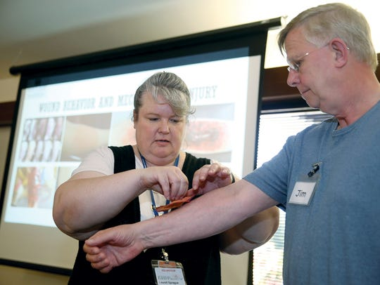 Jim Ayers from Neah Bay gets a disaster prosthetic