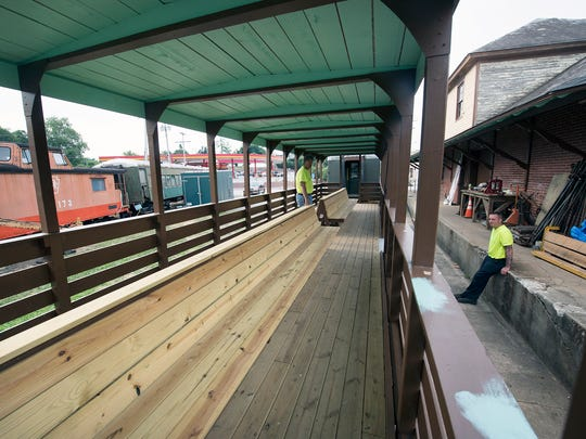 The inside of the new Stewartstown Railroad open-air excursion car converted by volunteers was placed in service on Saturday. The railroad chartered in 1885 has 50 active volunteers, but is always looking for people interested in working on the railroad.