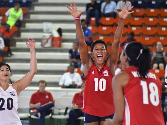Menomonee Falls graduate Simone Lee celebrates a point for the U.S. national team during Pan Am Cup play.