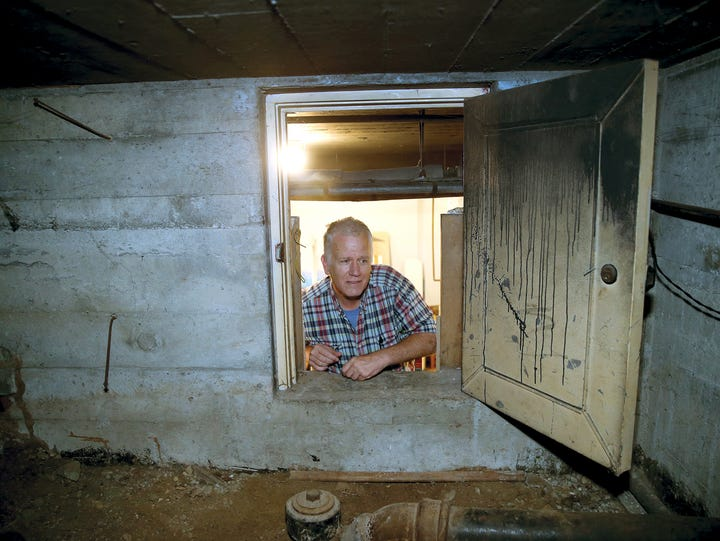 Inside a crawl space within Glenn and Lori Stockwell's