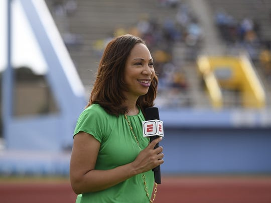 Greene airs a report from the sideline during the 2017 MEAC/SWAC Challenge at Ace W. Mumford Stadium in Baton Rouge, La.