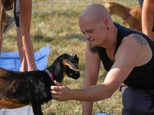 """This two month-old goat named """"Rocky"""" took a liking to Danny Hoard of Okemos and stayed on his yoga mat the entire lesson  at Burgdorf's Winery in Haslett Saturday, July 28, 2018."""