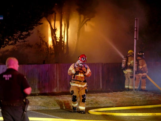 A fire at a house near the corner of Fifth Street and Chester Avenue in Bremerton late Monday.