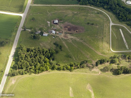 An aerial photo taken by EagleView shows damage from