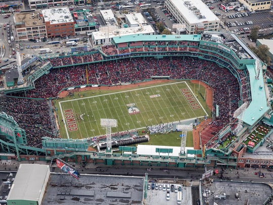 An aerial view of Fenway Park during the football game