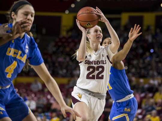 Arizona State's Courtney Ekmark drives to the basket