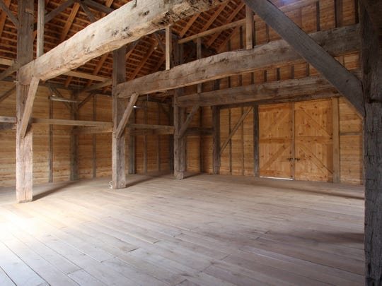 Interior of the Dutch barn at the Rockingham Historic Site.