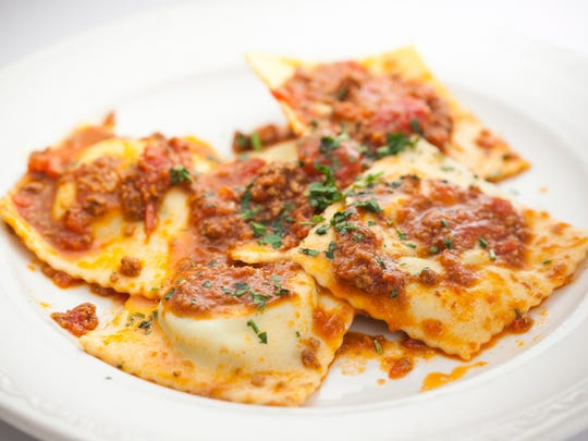 The ravioli with meat sauce is seen at Franco's Italian