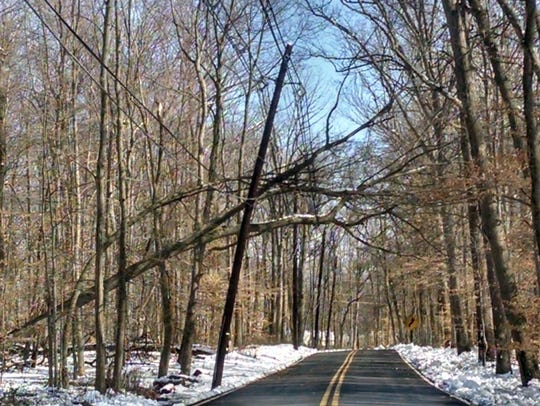 In South Brunswick, Broadway Road has trees on wires