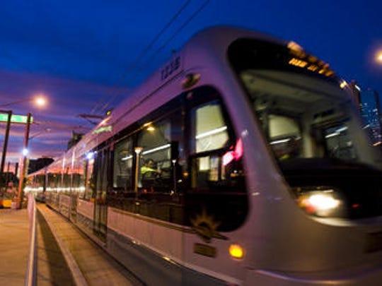 A light rail train in Phoenix.