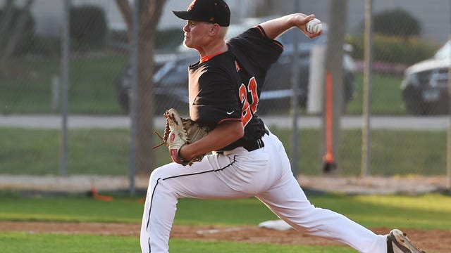 Ames pitcher Clayton Elbert threw 6 2/3 strong innings in his first career start to lead Ames to an 8-3 victory against Roland-Story, the No. 7 team in Class 2A, on Tuesday at Norsemen Field in Story City. Photo by Nirmalendu Majumdar/Ames Tribune
