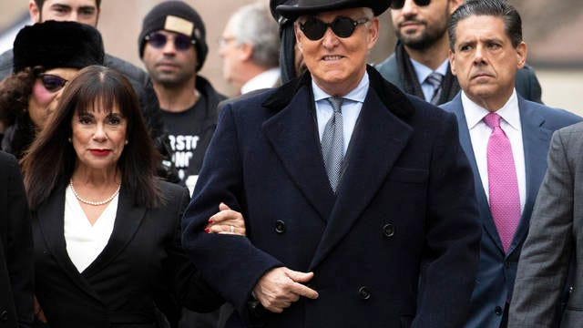Roger Stone accompanied by his wife Nydia Stone, left, arrives for his sentencing at U.S. District Court in Washington in February. (AP Photo/Manuel Balce Ceneta) Roger Stone accompanied by his wife Nydia Stone, left, arrives for his sentencing at U.S. District Court in Washington in February.