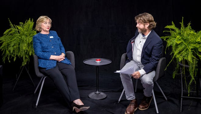 """Democratic presidential candidate Hillary Clinton, left, appears with actor-comedian Zach Galifianakis during an appearance for the online comedy series, """"Between Two Ferns."""""""