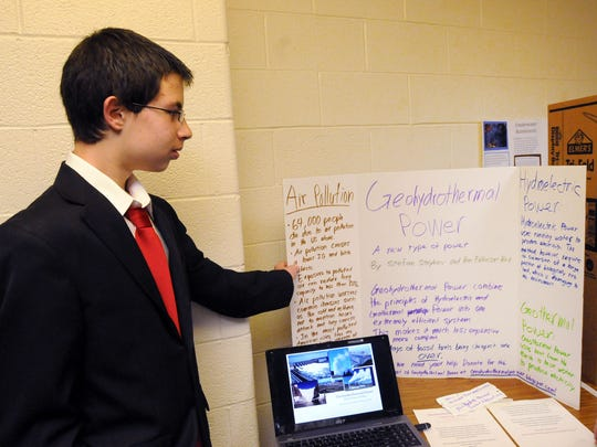 Stefan Stoykov talked about the project he and a classmate did on geohydrothermal power during Westlane Middle School's first seventh-grade Social Science Fair on May 13, 2010.