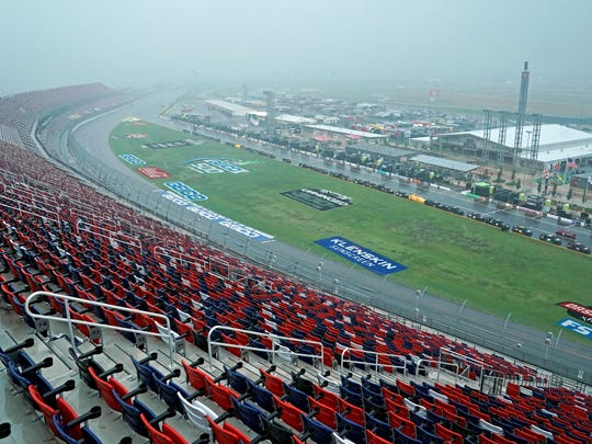 Rain falls on the track during Geico 500 at Talladega Superspeedway on June 21, 2020.