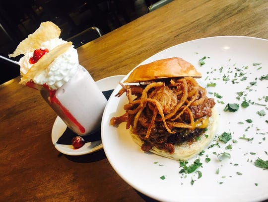 A burger and milkshake from Central Standard Burgers, Beer & Stuff.