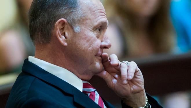 Roy Moore looks on before the lottery to pick the judges who will hear his appeal at the Alabama Judicial Building in Montgomery, Ala. on Thursday October 27, 2016.