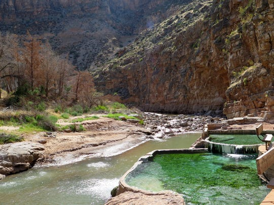 Hot spring waters bubble 107-degree water into the Virgin River at the LaVerkin Hot Springs in this file photo from 2014.
