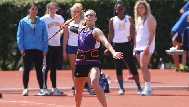 Northwestern State junior Ashley Aldredge, pictured March 14 at McNeese State's Cowboy Relays in Lake Charles, has returned after missing 20 months due to injury and pregnancy to make the NCAA Women's Track and Field Championships