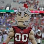 T-Roy the Trojan Mascot pumps up the crowd prior to the home opener on Saturday, September 6, 2014, at Veterans Memorial Stadium in Troy, Ala. Duke leads 24-14 at halftime.