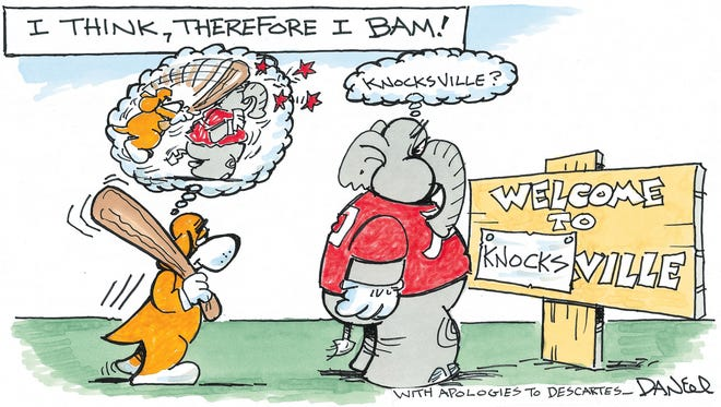 Charlie Daniel voltoon for Tennessee vs. Alabama