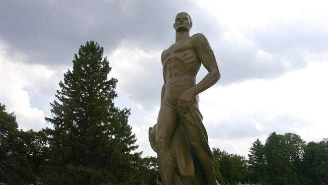 Sparty statue on the campus of Michigan State University in East Lansing, Mich.